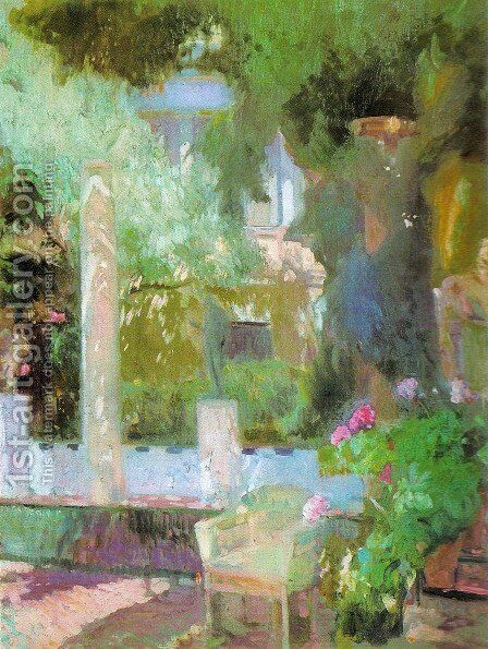 Garden of Sorolla house by Joaquin Sorolla y Bastida - Reproduction Oil Painting
