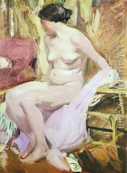 Nude woman by Joaquin Sorolla y Bastida - Reproduction Oil Painting