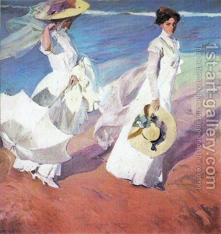 Walk on the seafront by Joaquin Sorolla y Bastida - Reproduction Oil Painting