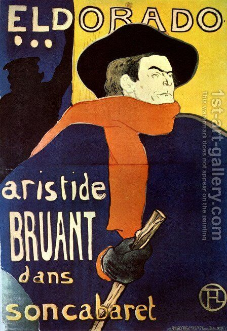 El dorado, Artistide Bruant dans soncabaret by Toulouse-Lautrec - Reproduction Oil Painting