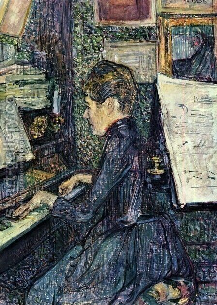 Mademoiselle Dihau Playing the Piano by Toulouse-Lautrec - Reproduction Oil Painting