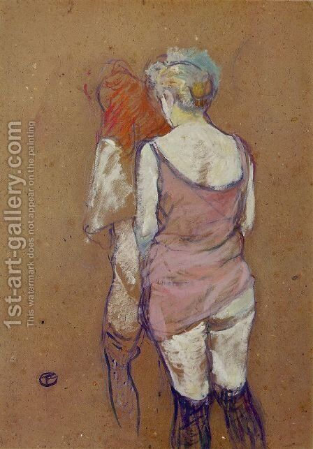 Two Half-Naked Women Seen from Behind by Toulouse-Lautrec - Reproduction Oil Painting