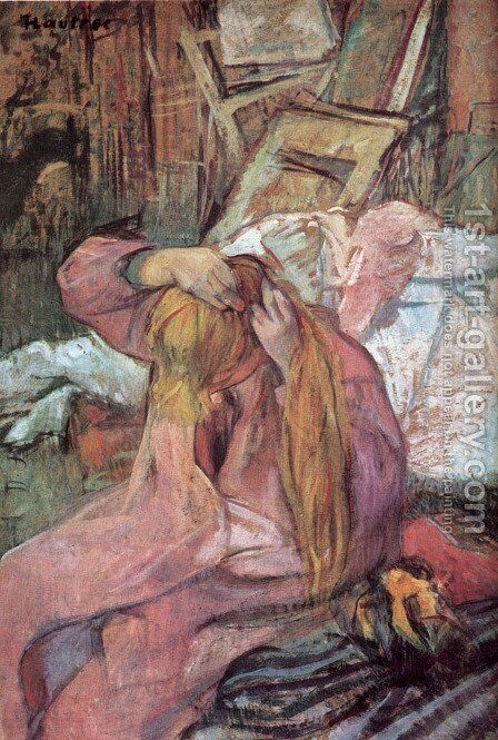 Woman combing her hair 2 by Toulouse-Lautrec - Reproduction Oil Painting