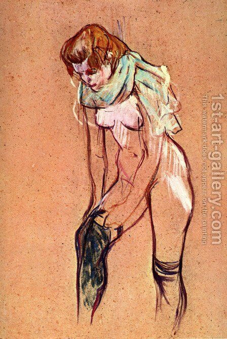Woman Pulling up Her Stockings (study) by Toulouse-Lautrec - Reproduction Oil Painting