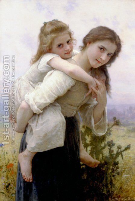 Fardeau Agreable [Not too Much to Carry] by William-Adolphe Bouguereau - Reproduction Oil Painting