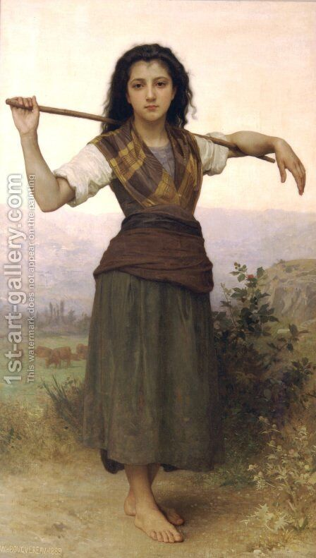 Pastourelle [Shepherdess] by William-Adolphe Bouguereau - Reproduction Oil Painting