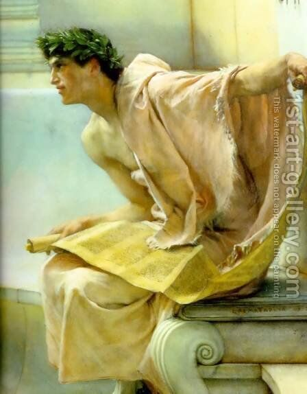 A Reading from Homer (detail) by Sir Lawrence Alma-Tadema - Reproduction Oil Painting