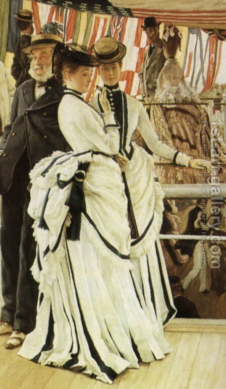 The Ball on Shipboard (detail) by James Jacques Joseph Tissot - Reproduction Oil Painting