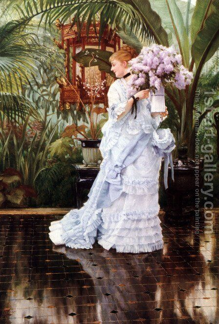 The Bunch of Lilacs by James Jacques Joseph Tissot - Reproduction Oil Painting