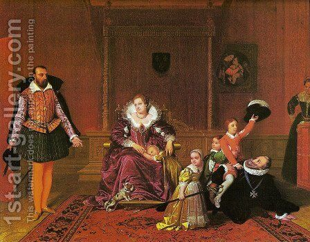 Enrique IV surprised by the Spanish ambassador while playing with his children by Jean Auguste Dominique Ingres - Reproduction Oil Painting