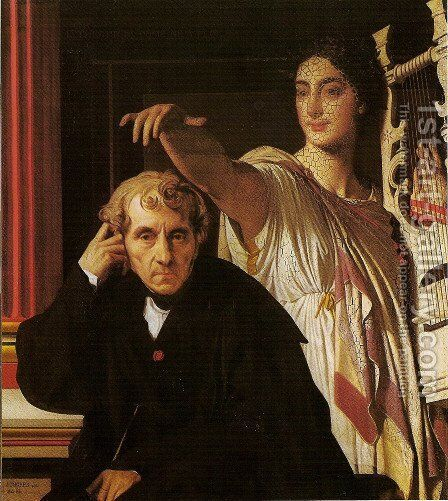 Luigi Cherubini and the muse of poetry by Jean Auguste Dominique Ingres - Reproduction Oil Painting