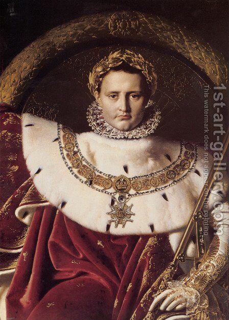Napoleon I on His Imperial Throne (Detail) by Jean Auguste Dominique Ingres - Reproduction Oil Painting
