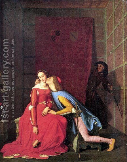 Paolo and Francesca by Jean Auguste Dominique Ingres - Reproduction Oil Painting
