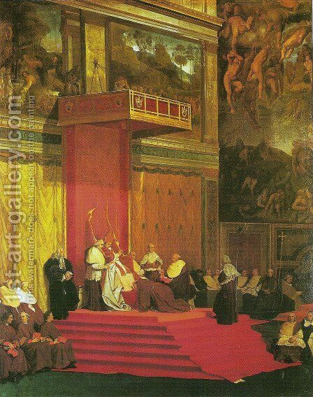 Sistine Chapel interior by Jean Auguste Dominique Ingres - Reproduction Oil Painting