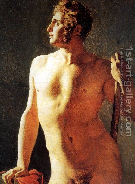 Study of a Male Nude by Jean Auguste Dominique Ingres - Reproduction Oil Painting