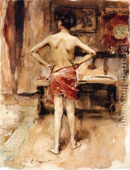 The Model, Interior with Standing Figure by Sargent - Reproduction Oil Painting