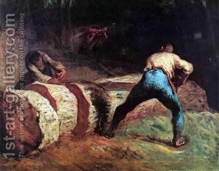 Forest workers in the wood saws by Jean-Francois Millet - Reproduction Oil Painting
