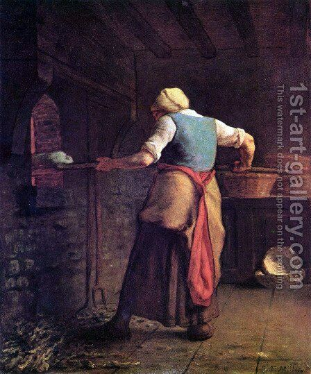 Frau beim Brotbacken by Jean-Francois Millet - Reproduction Oil Painting
