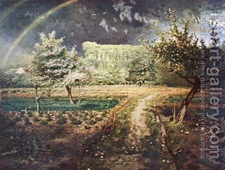 Paysage de printemps avec arc-en-ciel (Le Printemps) by Jean-Francois Millet - Reproduction Oil Painting