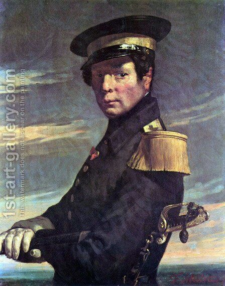 Portrait of a Marine officer by Jean-Francois Millet - Reproduction Oil Painting