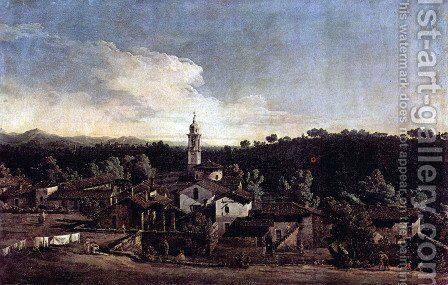 The village Gazzada, View from the south (Vedute of Gazzada) by (Giovanni Antonio Canal) Canaletto - Reproduction Oil Painting