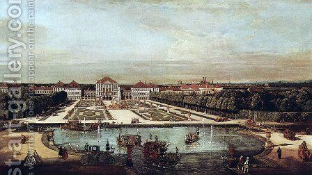 View from Munich, Nymphenburg Castle, view of west by (Giovanni Antonio Canal) Canaletto - Reproduction Oil Painting