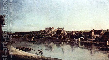 View from Pirna, Pirna of Kopitz, with Fortress Sonnenstein by (Giovanni Antonio Canal) Canaletto - Reproduction Oil Painting