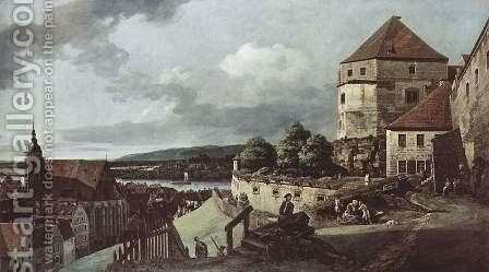 View from Pirna, the sun-stone fortress view by (Giovanni Antonio Canal) Canaletto - Reproduction Oil Painting