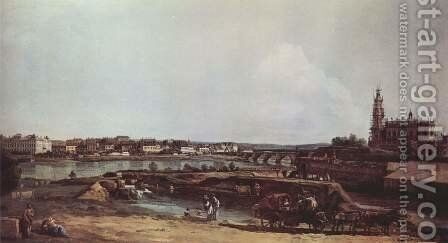 View of Dresden from the left bank of the Elbe, the bastion Sol with Augustus Bridge and the Hofkirche by (Giovanni Antonio Canal) Canaletto - Reproduction Oil Painting