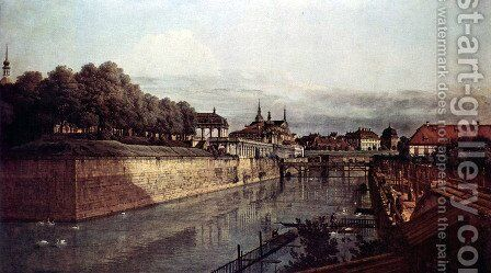 View of Dresden, the ancient moat of the kennel, the Orangerie by (Giovanni Antonio Canal) Canaletto - Reproduction Oil Painting