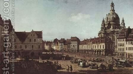View of Dresden, the Neumarkt Moritz by (Giovanni Antonio Canal) Canaletto - Reproduction Oil Painting