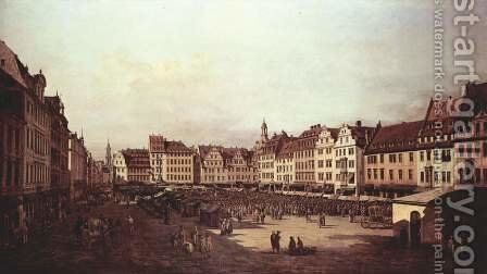 View of Dresden, The Old Market Square from the Seegasse by (Giovanni Antonio Canal) Canaletto - Reproduction Oil Painting
