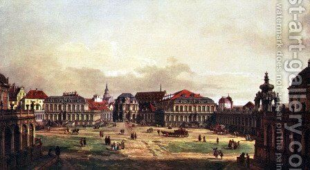 View of Dresden, Zwingerhof in Dresden, from the fortress by (Giovanni Antonio Canal) Canaletto - Reproduction Oil Painting