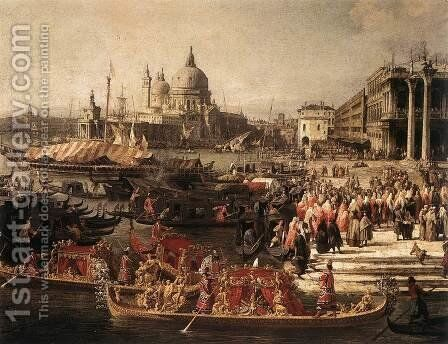 Arrival of the French Ambassador in Venice (detail 1) by (Giovanni Antonio Canal) Canaletto - Reproduction Oil Painting