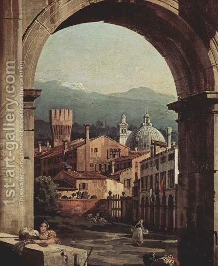 Capriccio Romano,  city gate tower, detail by (Giovanni Antonio Canal) Canaletto - Reproduction Oil Painting