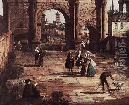 Rome, The Arch of Constantine (detail) by (Giovanni Antonio Canal) Canaletto - Reproduction Oil Painting