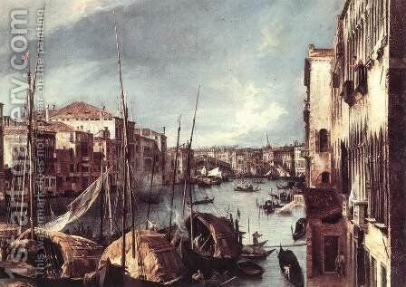 The Grand Canal with the Rialto Bridge in the Background (detail) by (Giovanni Antonio Canal) Canaletto - Reproduction Oil Painting