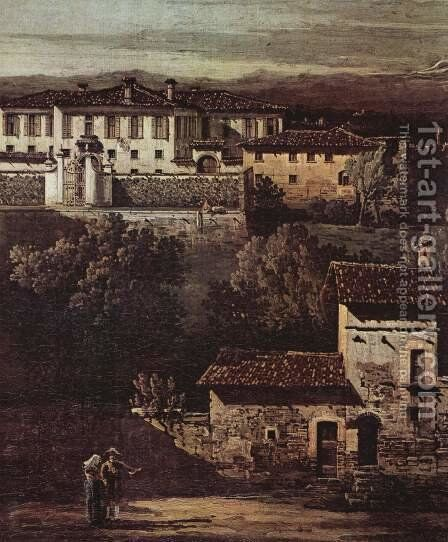The village Gazzada viewed from southeast to the Villa Melzi d'Eril, detail by (Giovanni Antonio Canal) Canaletto - Reproduction Oil Painting