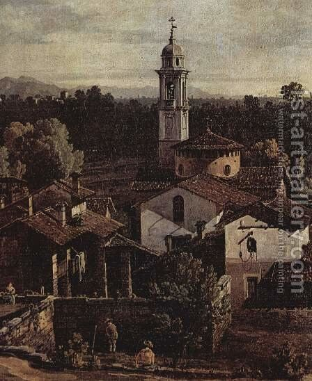 The village Gazzada, View from the south (Vedute of Gazzada), detail by (Giovanni Antonio Canal) Canaletto - Reproduction Oil Painting