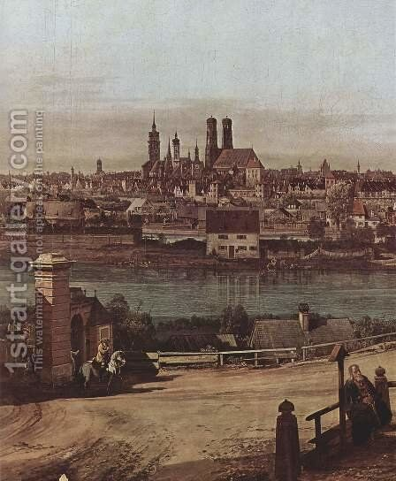 View from Munich, The Bridge and the Isar, Detail by (Giovanni Antonio Canal) Canaletto - Reproduction Oil Painting