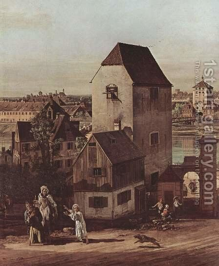View from Munich, The Bridge and the Isar, detail 2 by (Giovanni Antonio Canal) Canaletto - Reproduction Oil Painting