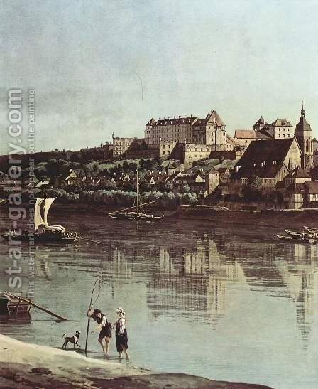 View from Pirna, Pirna of Kopitz, with Fortress Sonnenstein, detail by (Giovanni Antonio Canal) Canaletto - Reproduction Oil Painting