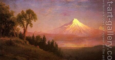 Mount St. Helens, Columbia River, Oregon by Albert Bierstadt - Reproduction Oil Painting