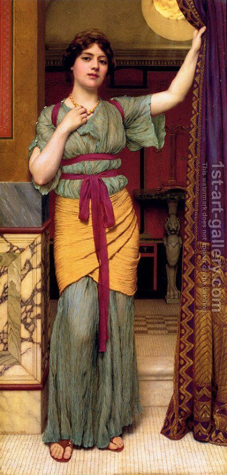 A Classical Lady (2) by John William Godward - Reproduction Oil Painting