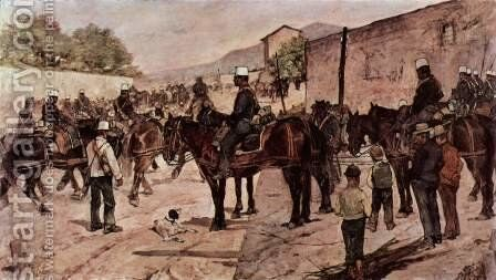 Artillery Corps riding on a village road by Giovanni Fattori - Reproduction Oil Painting