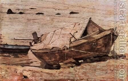 Beach with a small boat by Giovanni Fattori - Reproduction Oil Painting