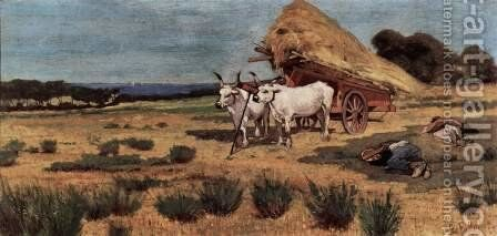 Break in Maremma with farmers and oxen driving by Giovanni Fattori - Reproduction Oil Painting