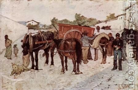 Country road with peasants and soldiers by Giovanni Fattori - Reproduction Oil Painting