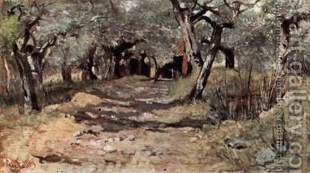 Dirt in the olive grove by Giovanni Fattori - Reproduction Oil Painting