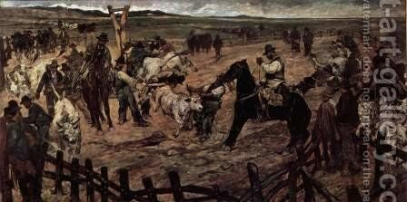 Marking the young bulls in Maremma by Giovanni Fattori - Reproduction Oil Painting